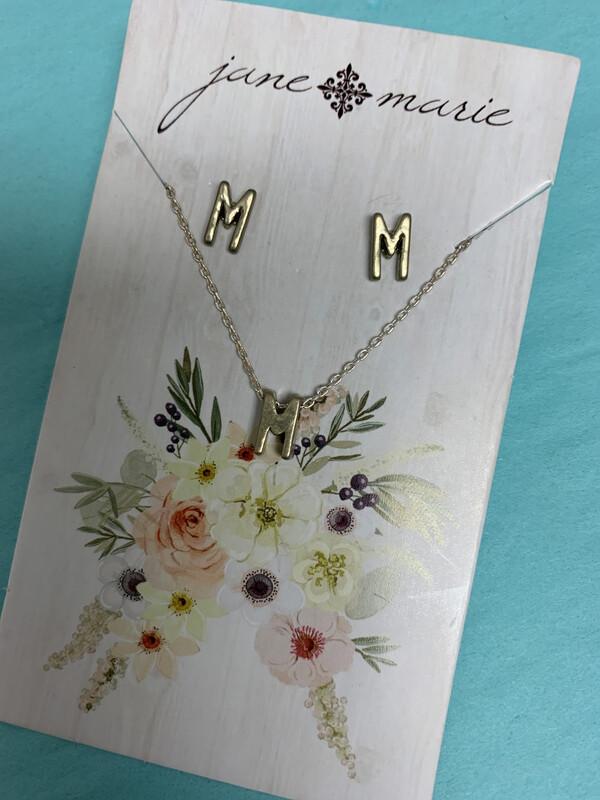 JM Initial Necklace/Earring Set M