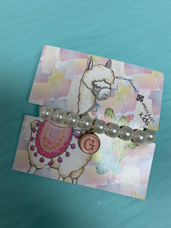 JM Initial Pearl Bracelet G