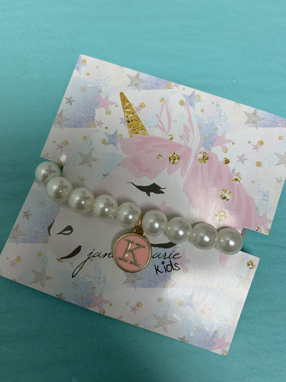 JM Initial Pearl Bracelet K