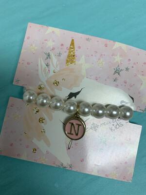 JM Initial Pearl Bracelet N