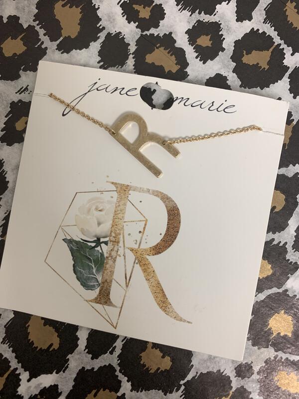 JM Initial Necklace Large R