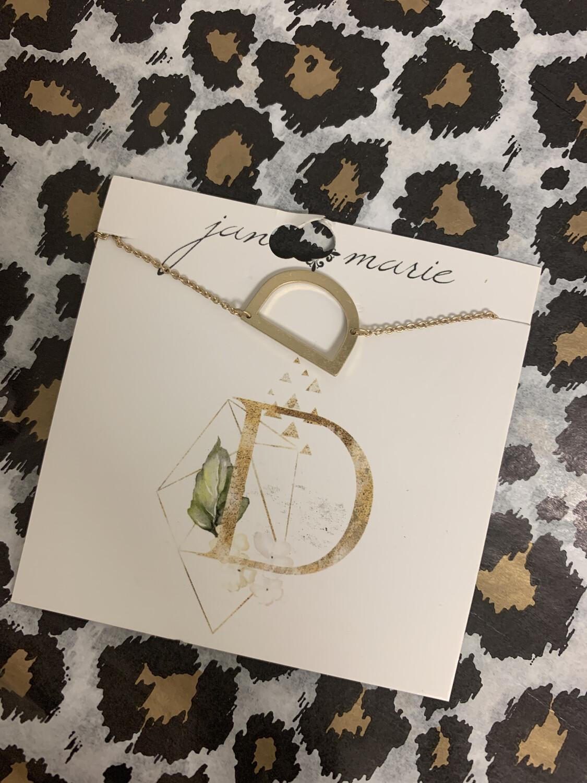 JM Initial Necklace Large D