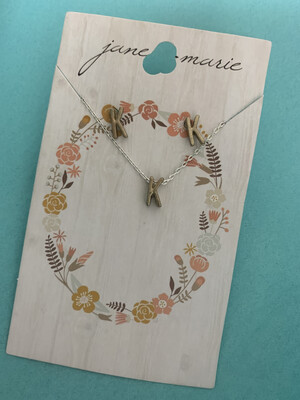 JM Initial Necklace/Earring Set K