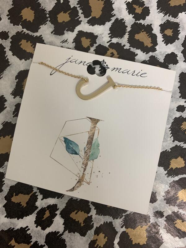 JM Initial Necklace Large J