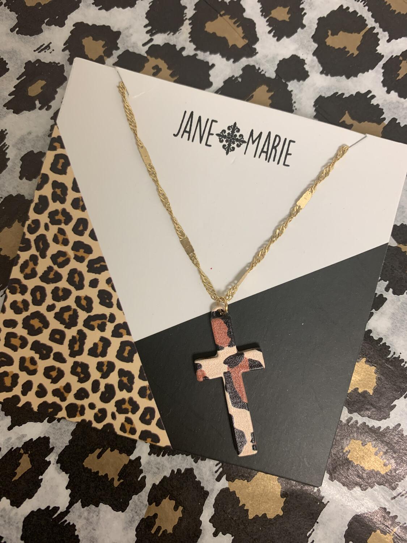 JM Necklace Cross Leopard