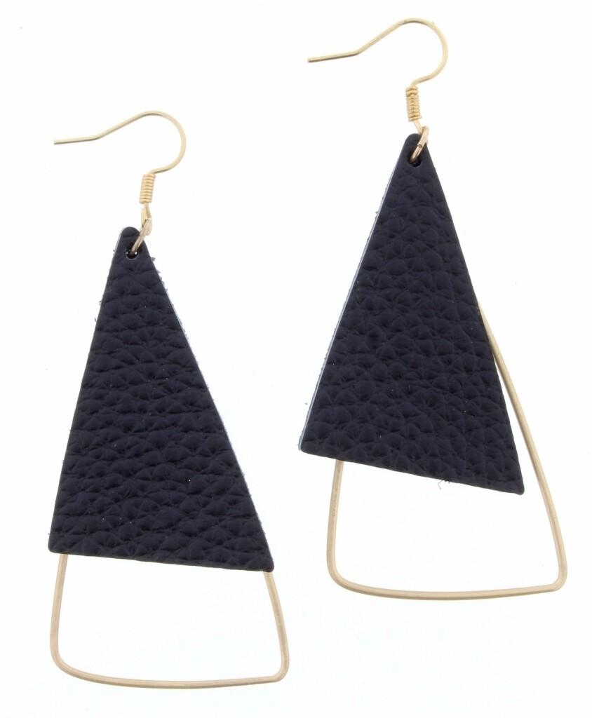 JM Earrings Leather Triangle Black