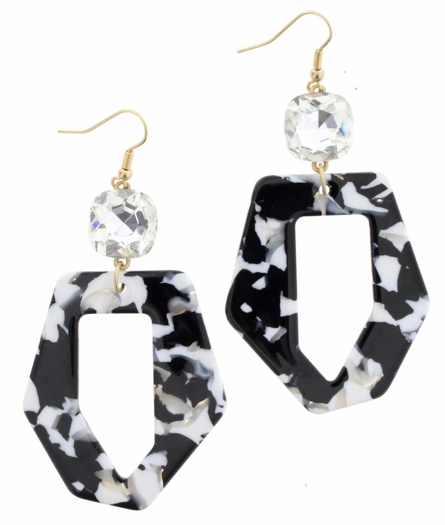 JM Earrings Black Resin