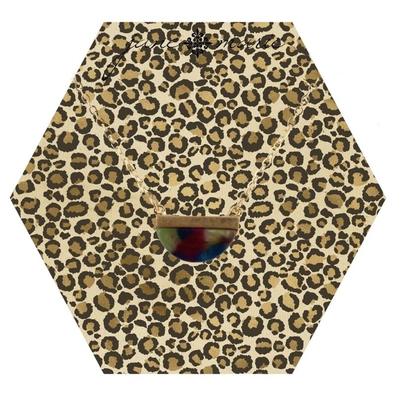 JM Necklace Half Circle Leopard