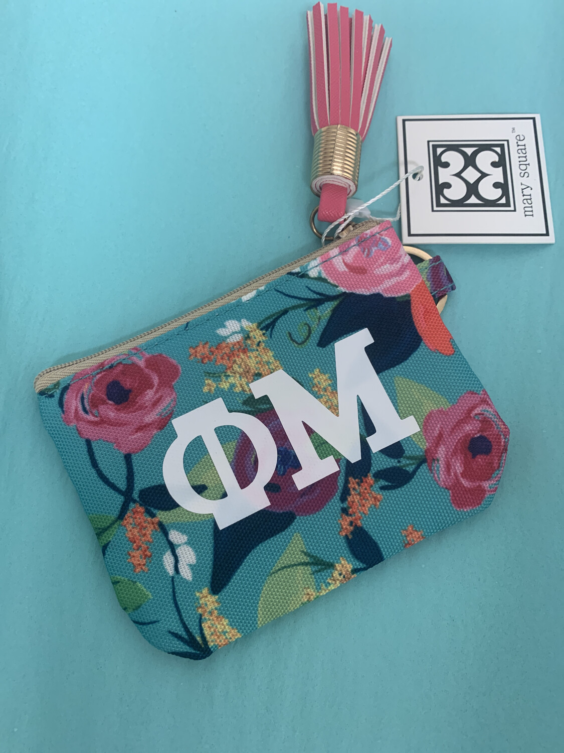 MS Sorority Pouch Keychain Green Flower 3