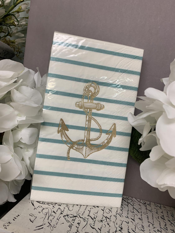 Napkins Blue Stripe Anchor Guest