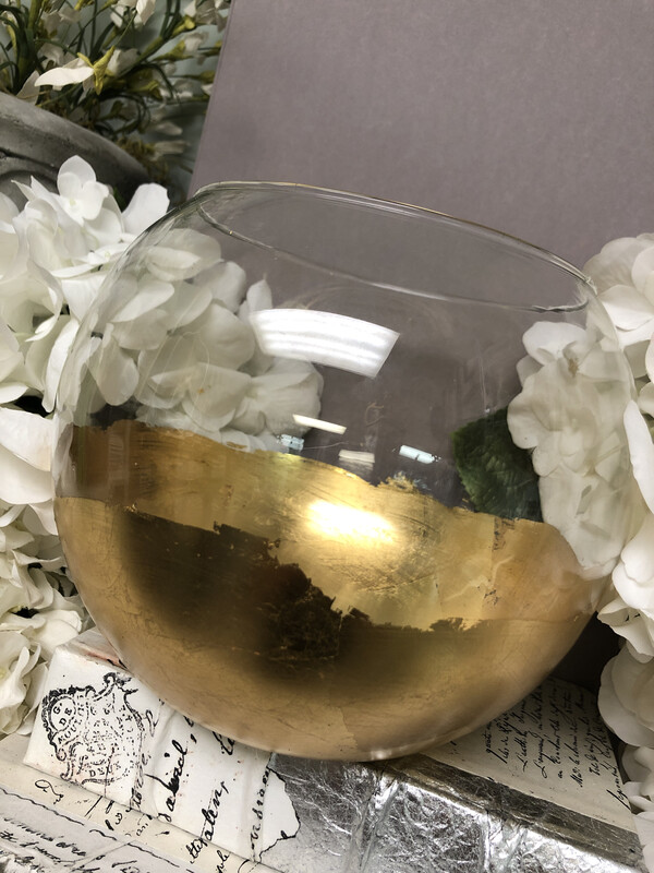 Gold Gild Small Fish Bowl Vase