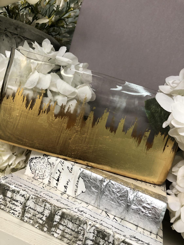 Gold Gild Long Rectangle Vase