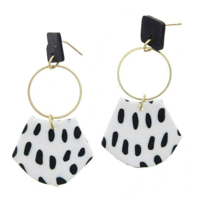 JM Earrings Black Dot Dangle