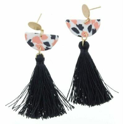 JM Earrings Black/Pink Tassel