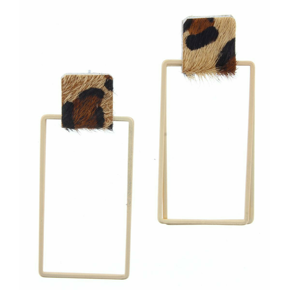 JM Earrings Rectangle Leopard