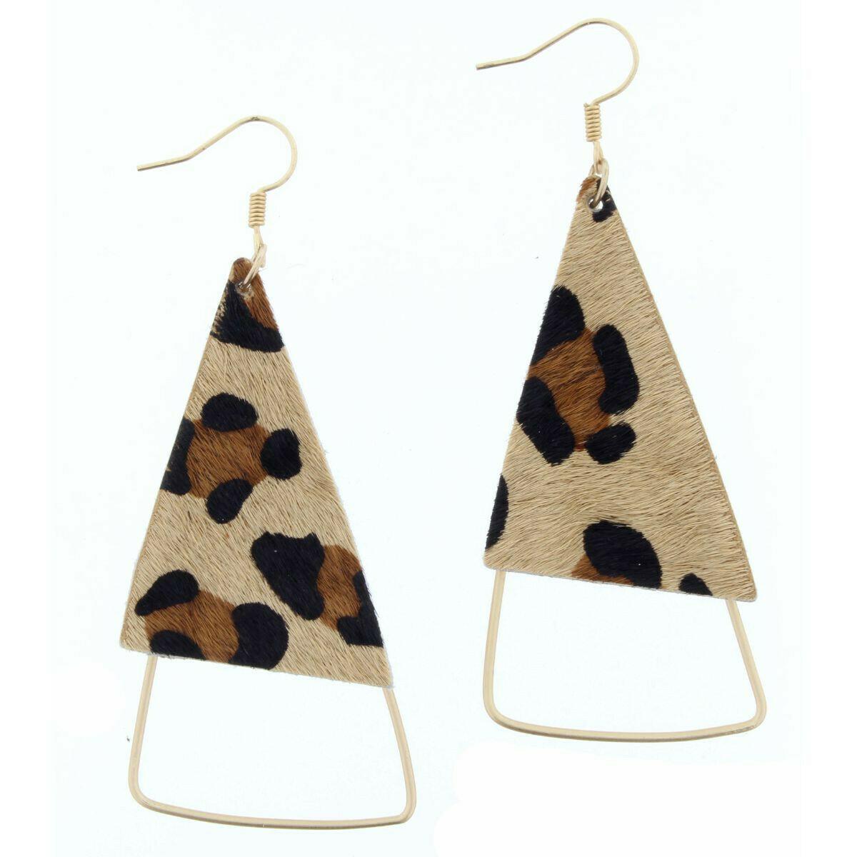 JM Earrings Leopard Leather Triangle