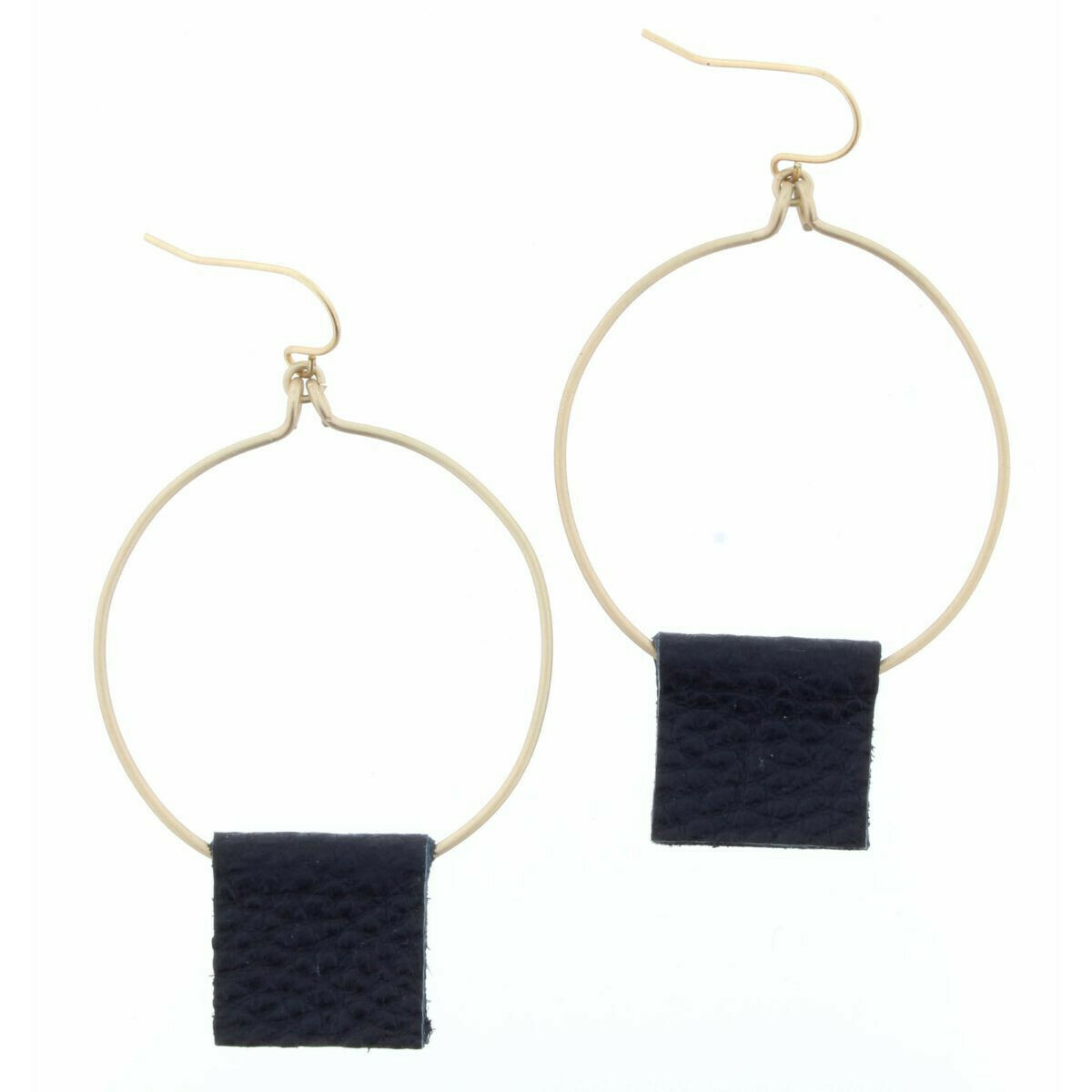 JM Earrings Square Leather Circle