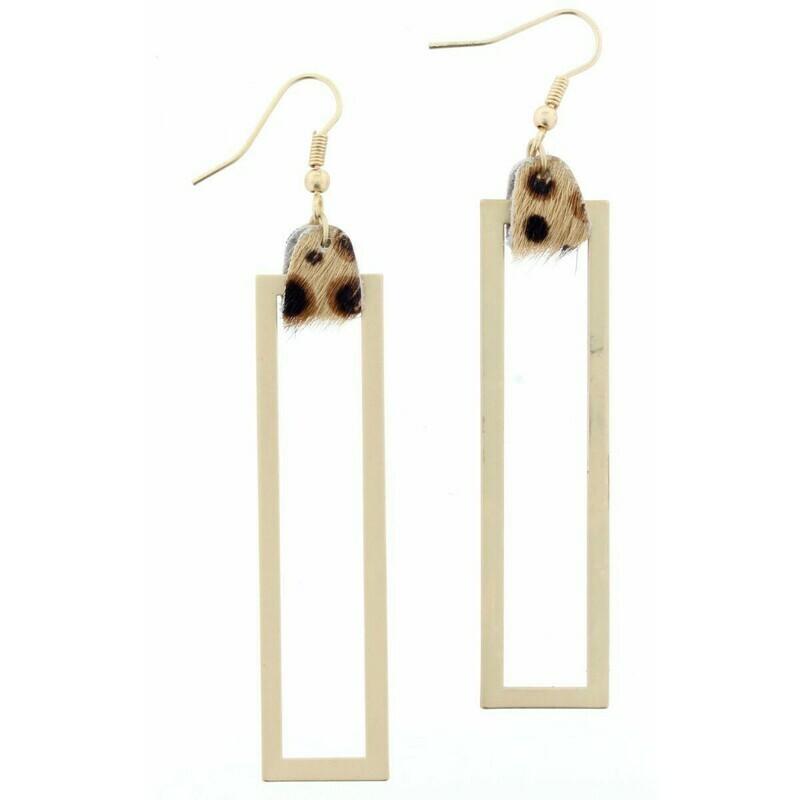 JM Earrings Leopard Double Rectangle