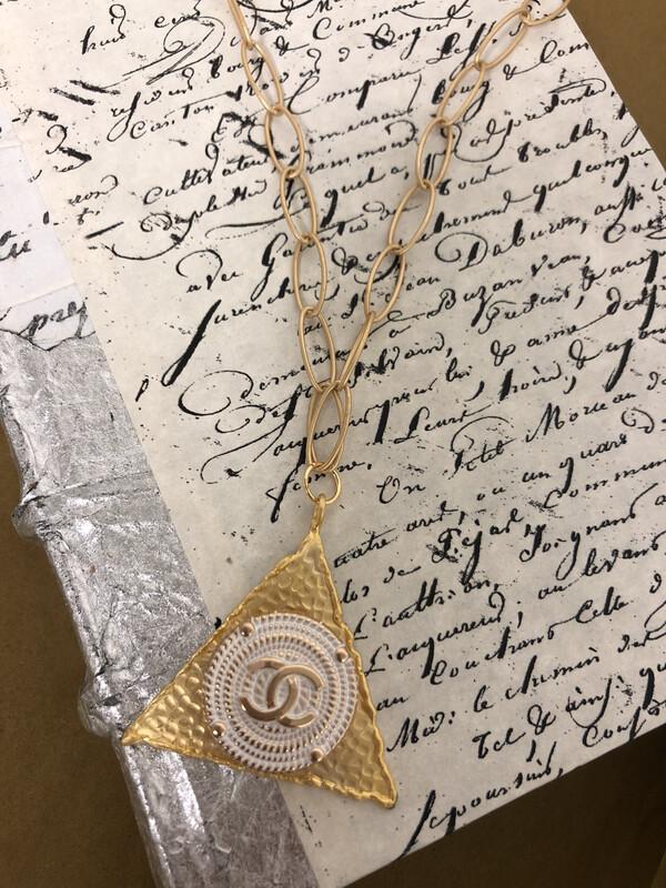 Designer Necklace CC White Triangle