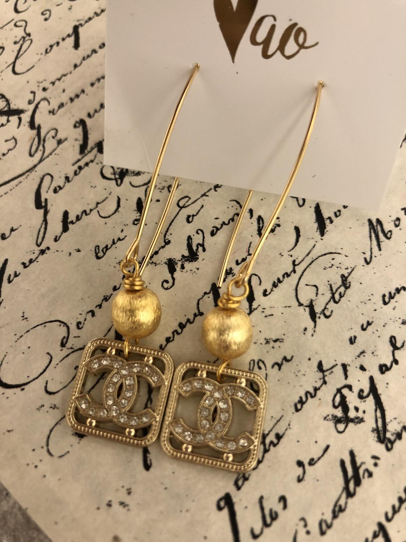 Designer Earrings CC Diamond Dangles