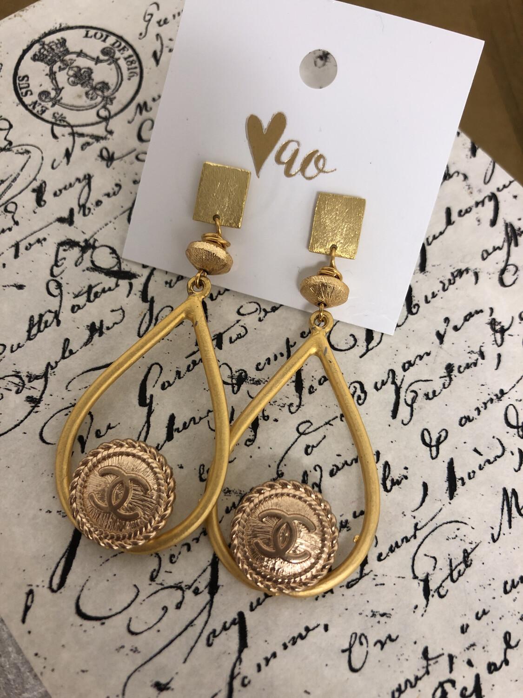 Designer Earrings CC Gold Teardrop