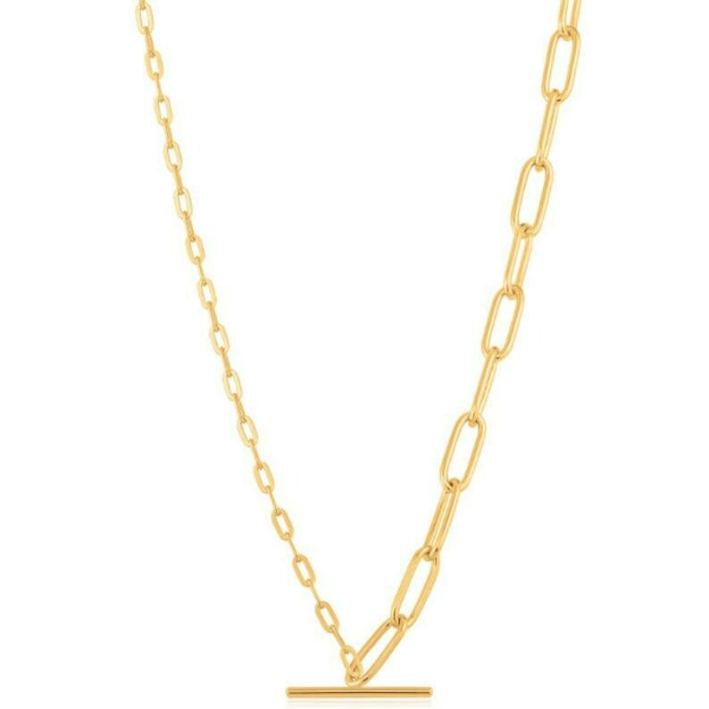 Ania Haie Mixed Link T-Bar Necklace Gold