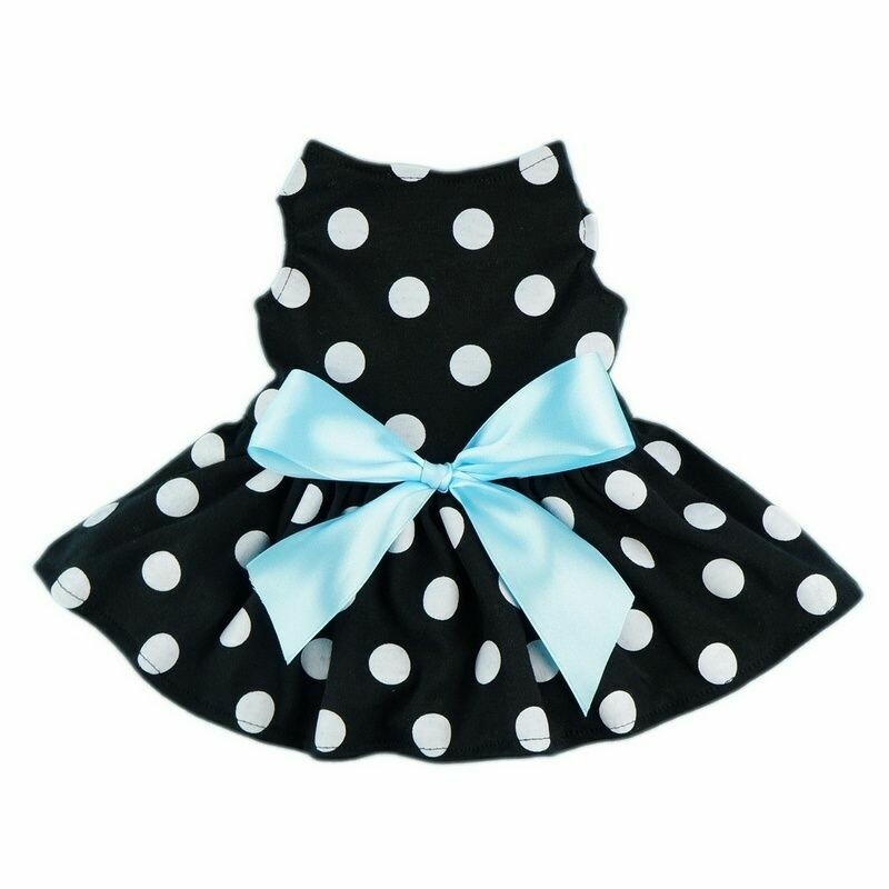 FW Dog Clothes Black Dot Dress Small