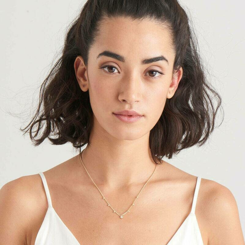 Ania Haie Mother of Pearl Drop Disc Necklace Gold