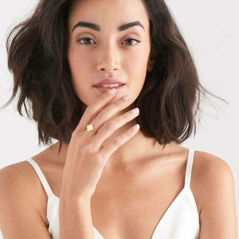 Ania Haie Crush Square Adjustable Ring Gold