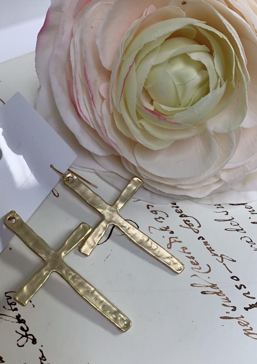 Love AO Earrings Gold Cross