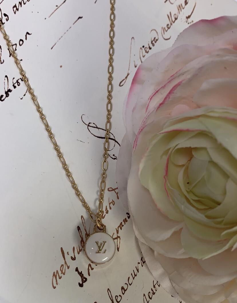Designer Necklace Petite LV White