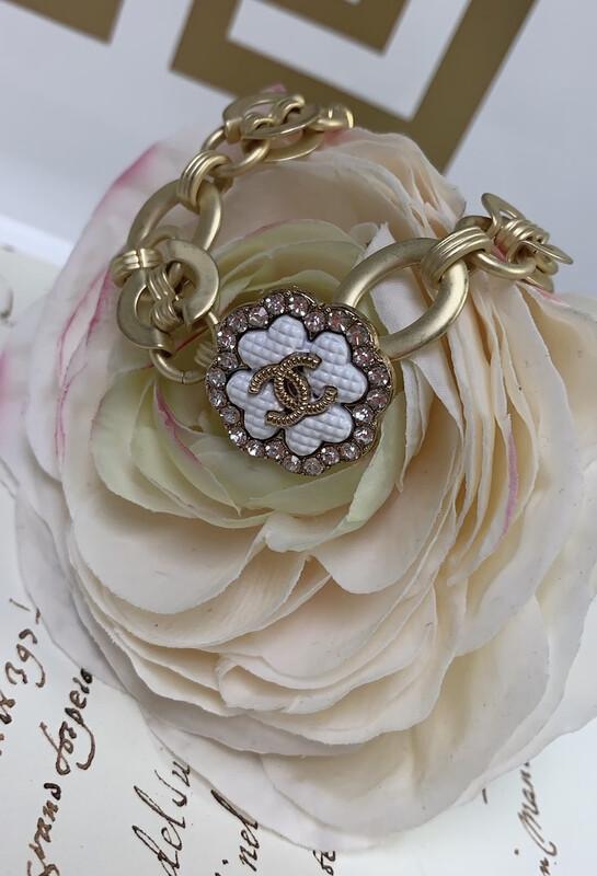 Designer Bracelet Diamond Clover CC