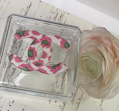 Acrylic Designer Square Pink Leopard CC