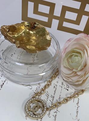 Acrylic Designer Round Box Gold Oyster