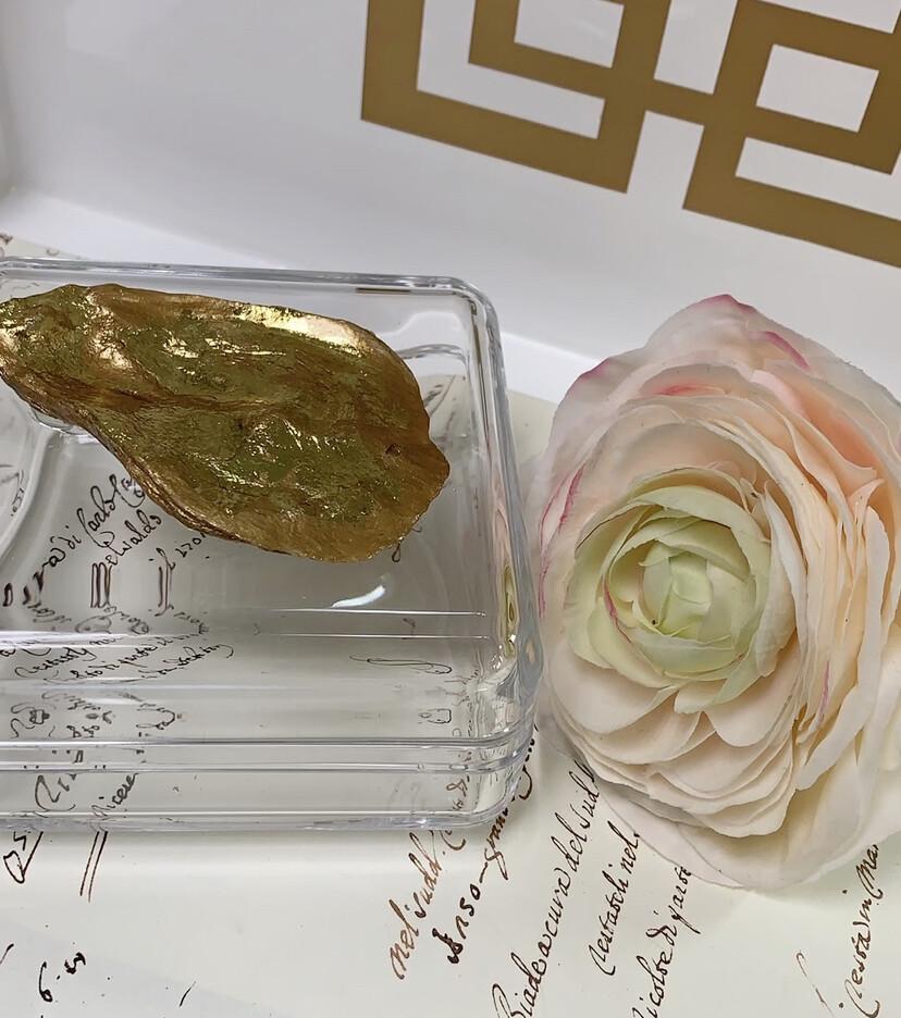 Acrylic Designer Square Box Gold Qyster