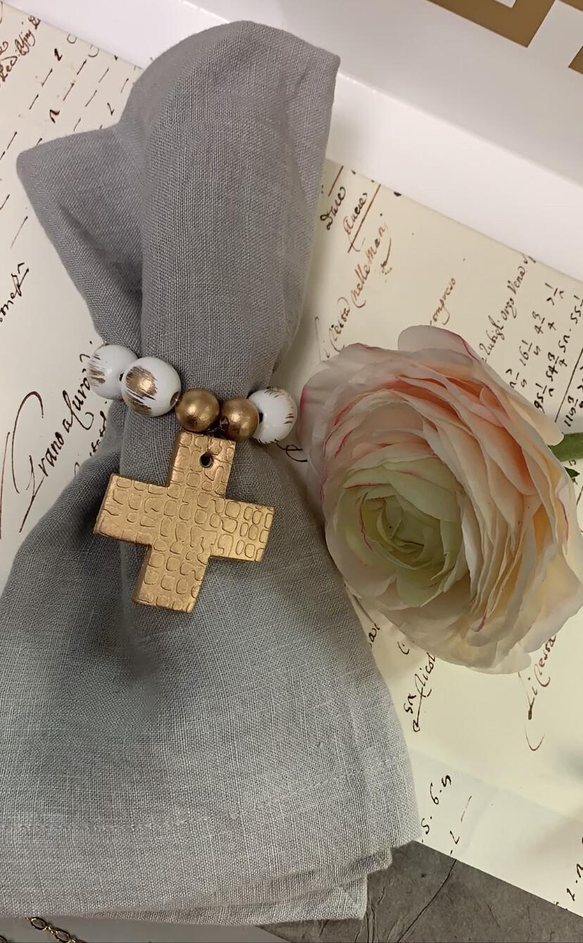 Napkin Ring Cross White/Gold