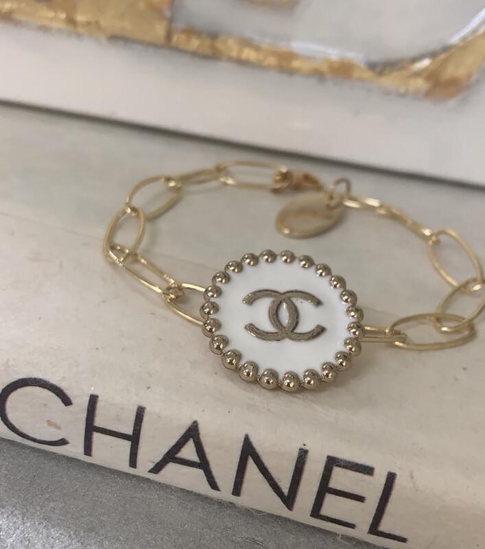 Chanel White Bead Bracelet