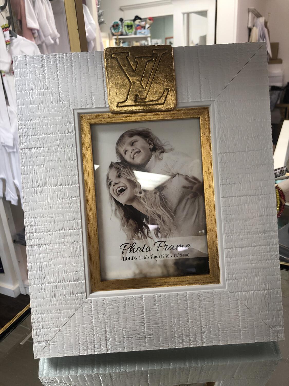 5x7 Designer Frame White/Gold Stamp LV