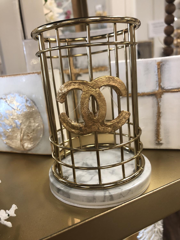 Designer Round Holder Gold/Marble CC