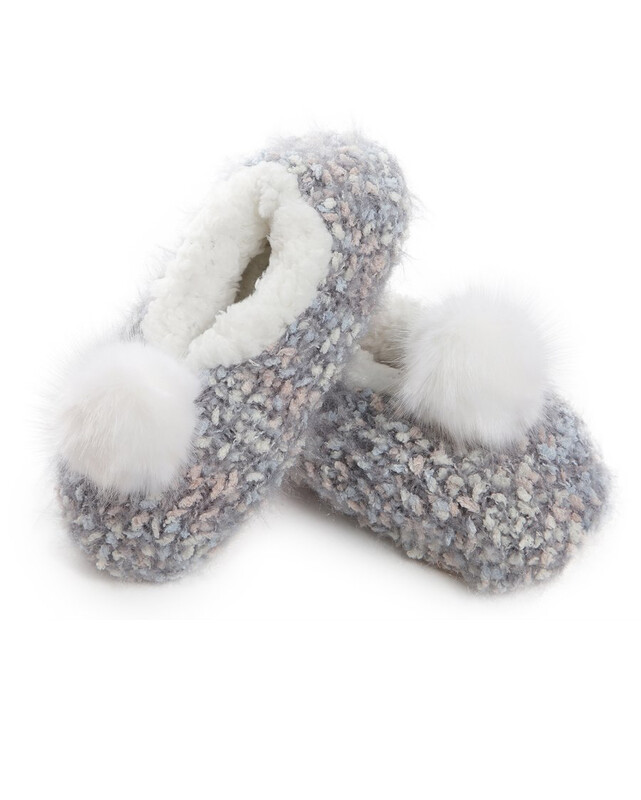 MeMoi Plush Lined Knit Pastel Slippers S/M