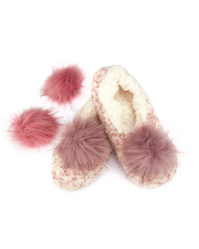 MeMoi Speckled Chenille Interchangeable PomPom Slippers S/M