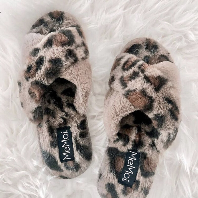 MeMoi Cheetah Plush Slippers Taupe SMALL