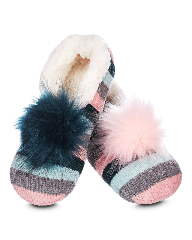 MeMoi Stripe Chenille Interchangeable PomPom Slippers S/M