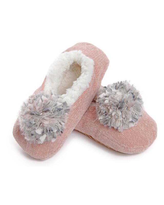 MeMoi Chenille PomPom Slippers Pink S/M