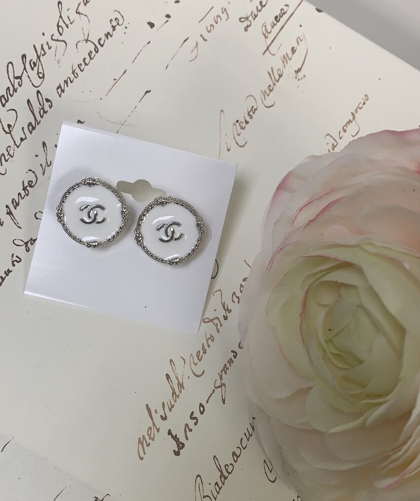 Designer Earrings CC White Studs