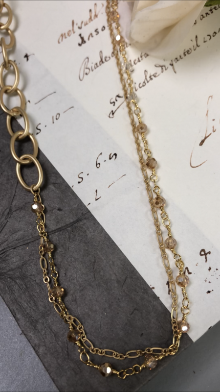 Love AO Necklace Gold Bead Chain