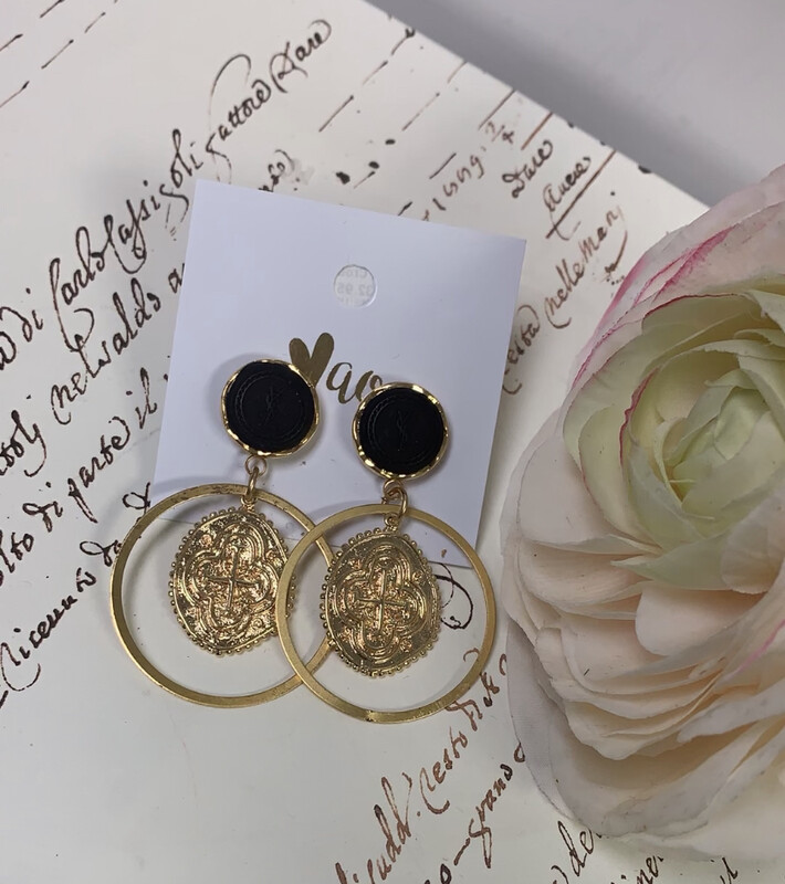 Love AO Earrings Black Cross Dangle