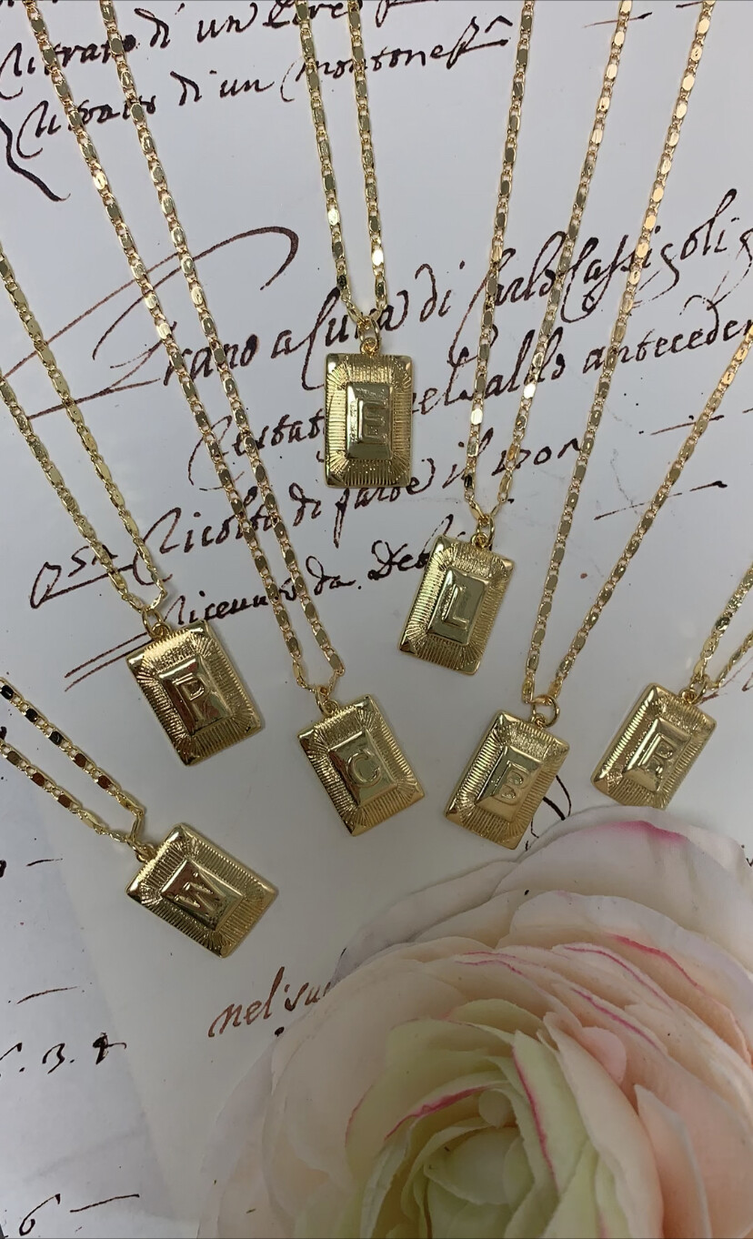 Gemelli Square Initial Necklace B