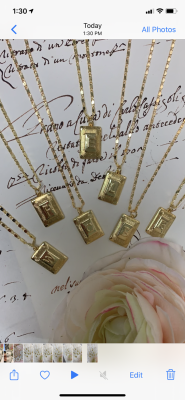 Gemelli Square Initial Necklace T
