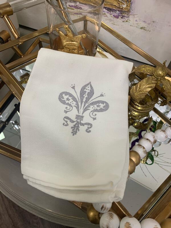 FG Cotton Towel Fleur De Lis Gray